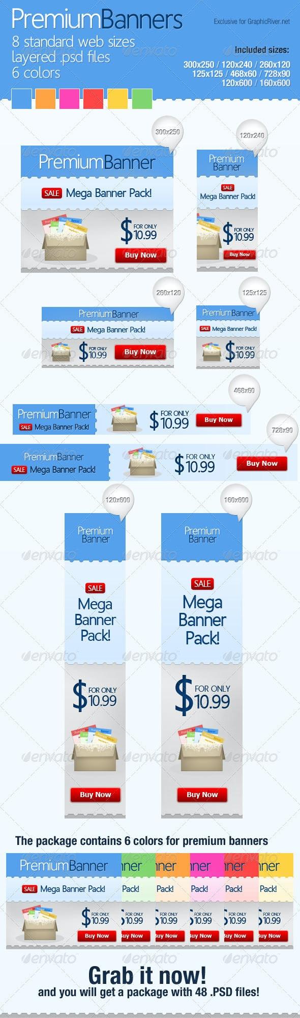 Premium Web Banners (Mega Pack) - Banners & Ads Web Elements
