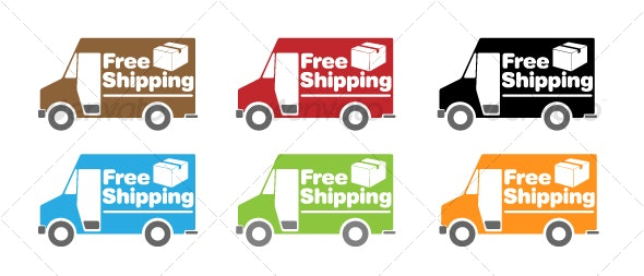 Free Shipping Truck Icon Set - Man-made Objects Objects