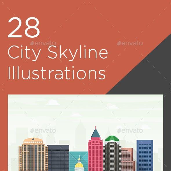 28 City Skyline Vector Illustrations
