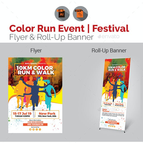 Color Run Event Flyer & Roll-Up Template Bundle