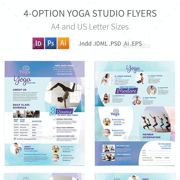 Yoga Studio Flyers 3 – 4 Options
