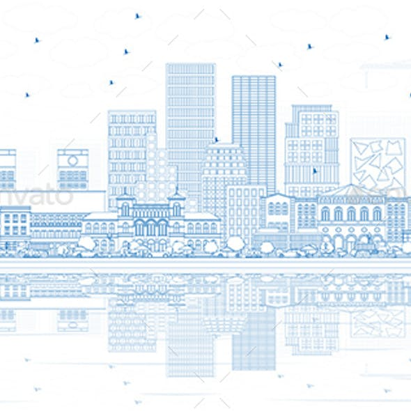 Outline Oslo Norway City Skyline with Blue Buildings and Reflections.