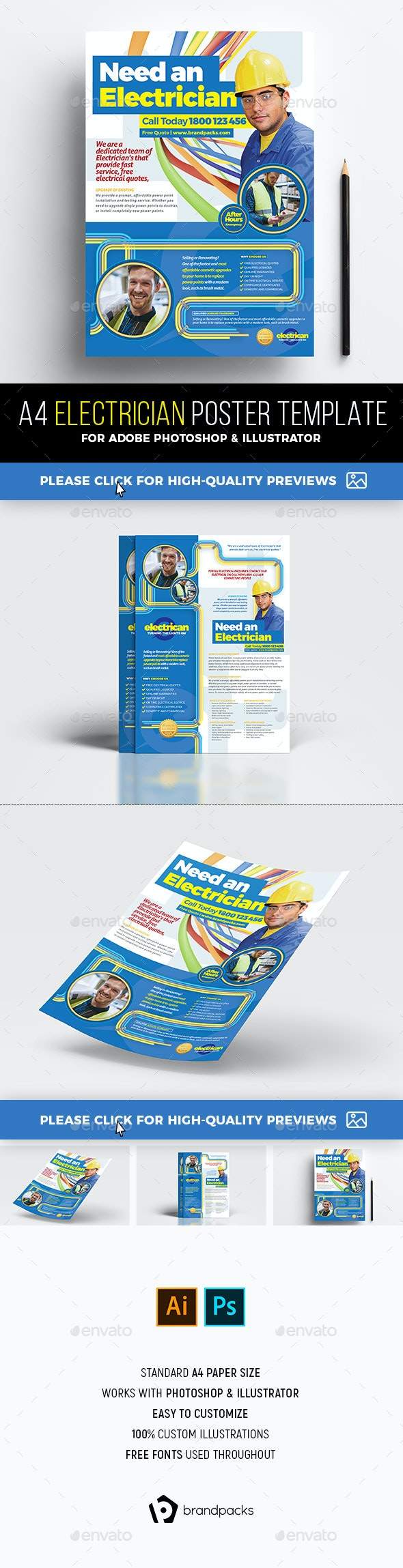 A4 Electrician Advertisement / Poster Template - Commerce Flyers