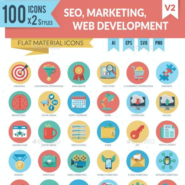 SEO, Marketing and WEB Development Icons