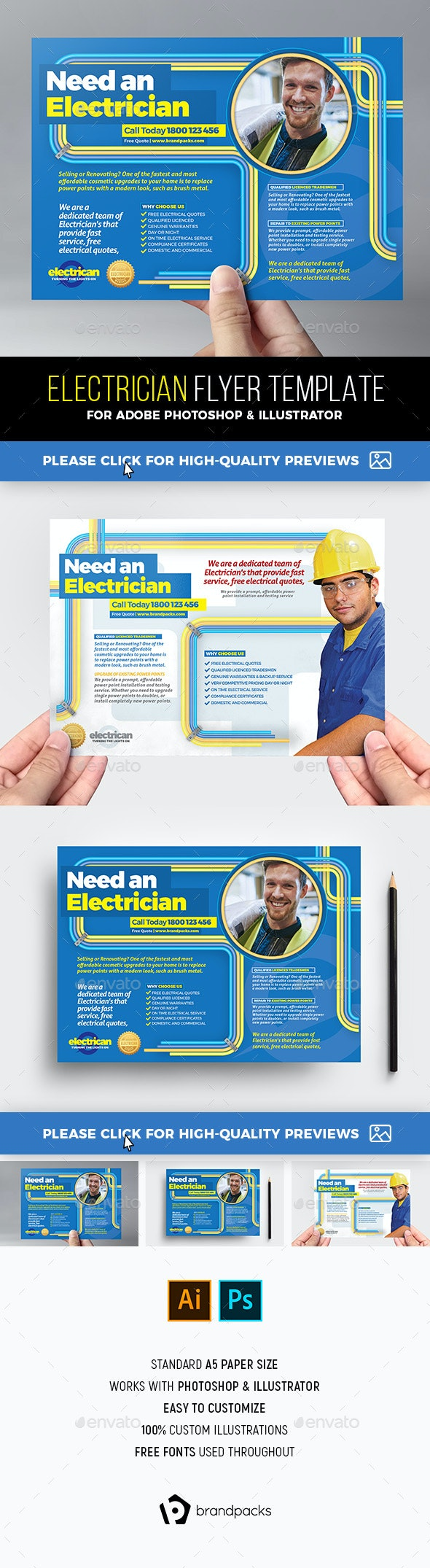 Electrician Flyer Template - Commerce Flyers