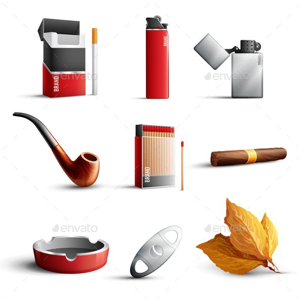 Tobacco Products Realistic Set