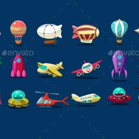 Cartoon Set of Different Types of Aircrafts. Alien
