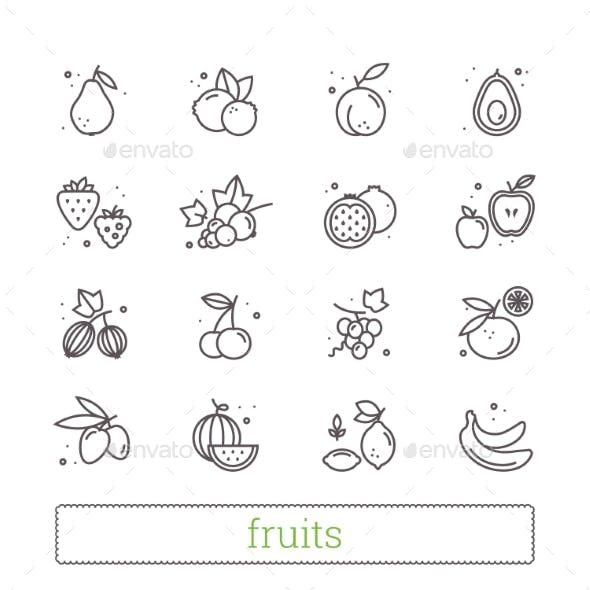 Fruits And Berries Thin Line Icons