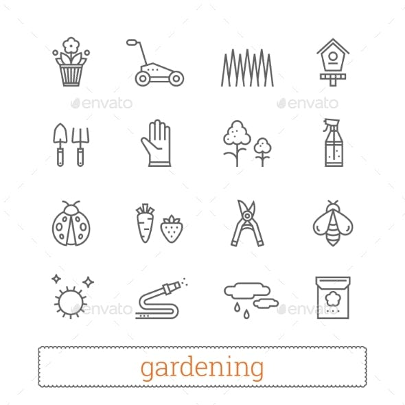 Gardening And Horticulture Modern Thin Line Icons