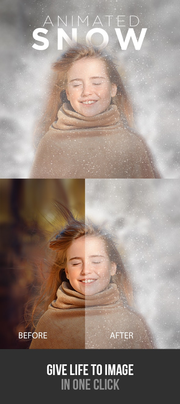 Gif Animated Snow Photoshop Action - Photo Effects Actions
