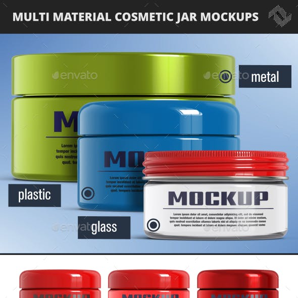 3 Glass Plastic Metal Jar Mockups