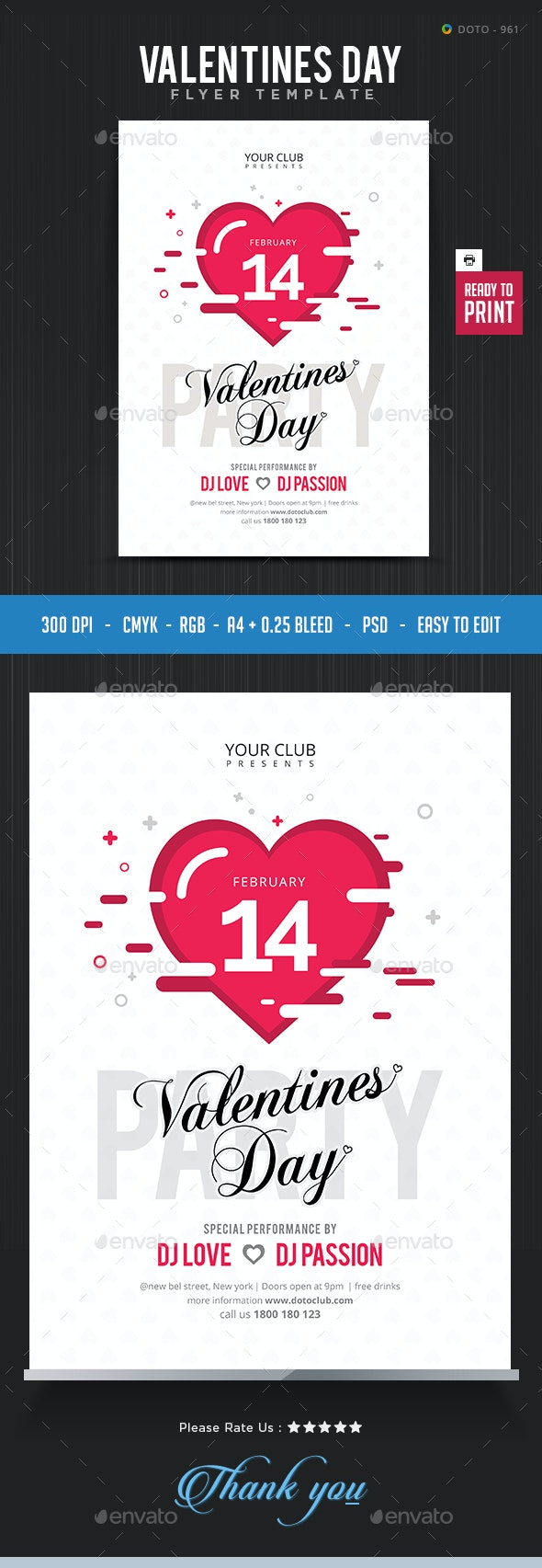 Valentines Day Flyer Template - Flyers Print Templates