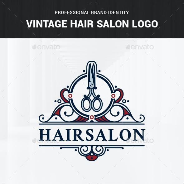 Vintage Hair Salon Logo Template