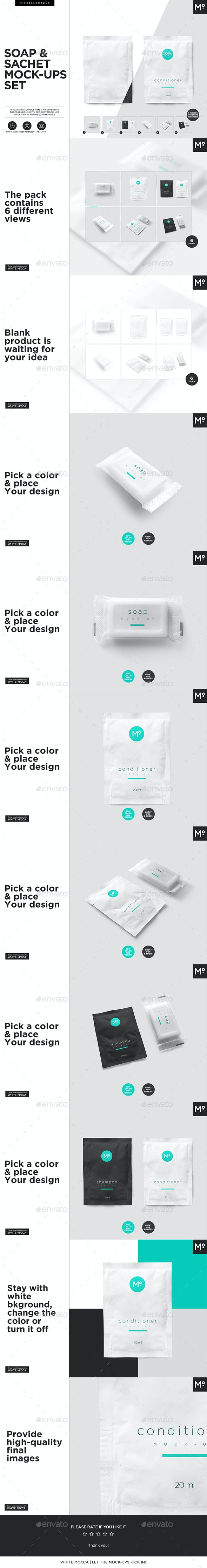 Soap and Sachete Shampoo Mock-ups Set - Beauty Packaging