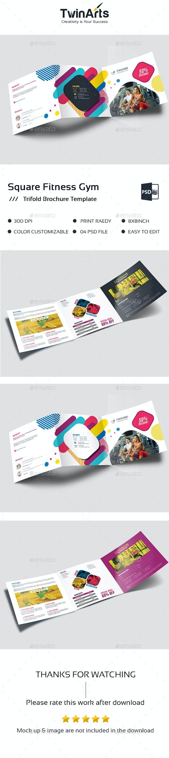 Square Fitness Gym Tri-Fold Brochure. - Brochures Print Templates