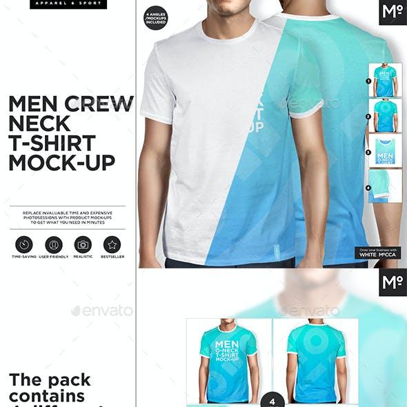 Men O-neck T-shirt Mock-up s Set