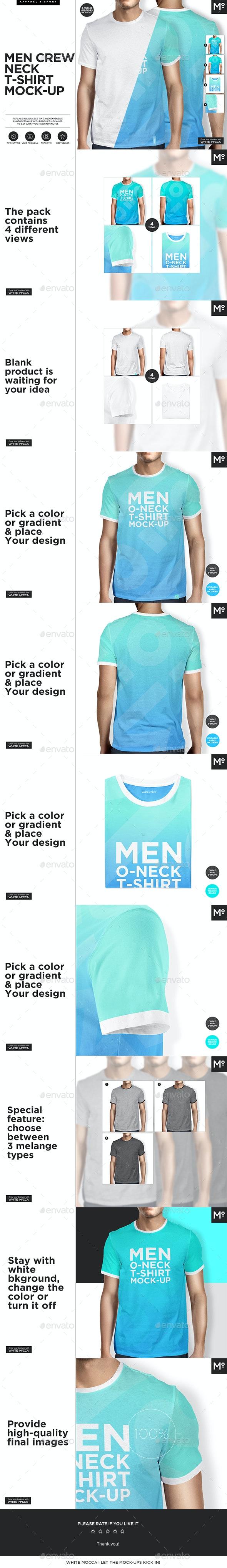 Men O-neck T-shirt Mock-up s Set - T-shirts Apparel