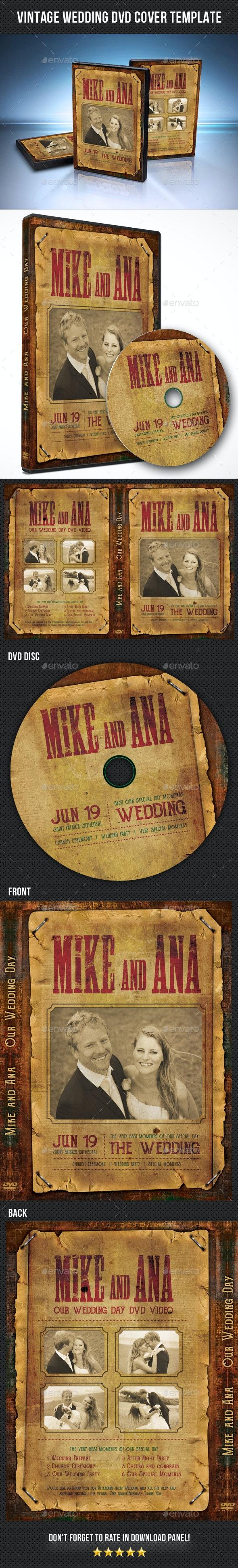 Vintage Wedding DVD Cover Template - CD & DVD Artwork Print Templates