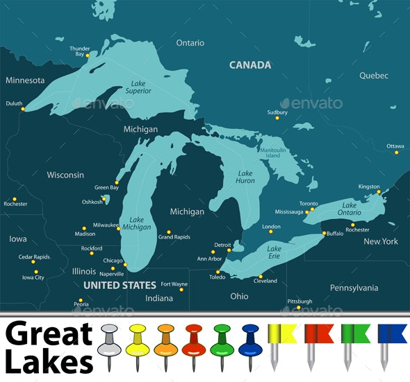maps of great lakes Map Of Great Lakes By Sateda2012 Graphicriver maps of great lakes