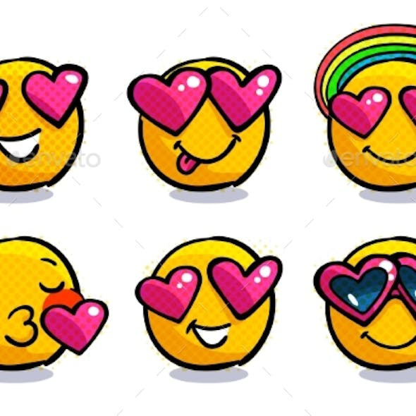 Set of Cute Valentine Emoticons in Love.