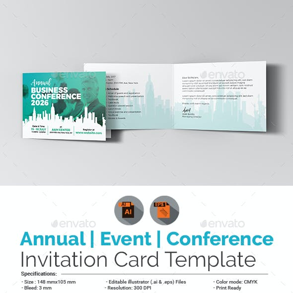 Annual Business Event/Conference Invitation Card