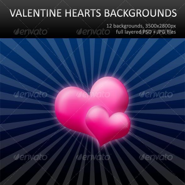12 Valentine hearts backgrounds