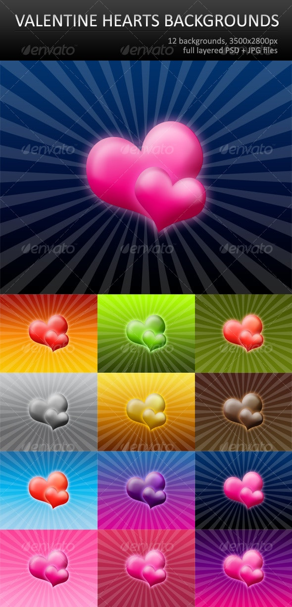 12 Valentine hearts backgrounds - Backgrounds Graphics