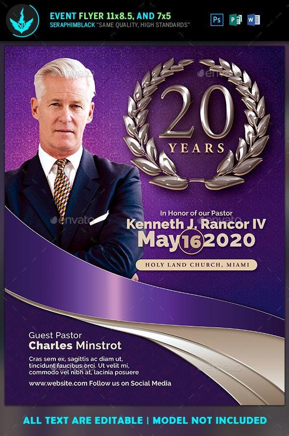 Lavender Pastor's Anniversary Church Flyer Template - Church Flyers