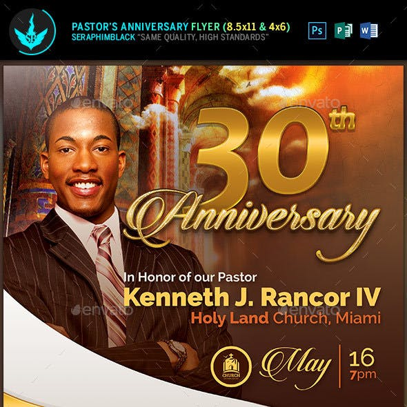 Gold Pastor's Anniversary Church Flyer Template