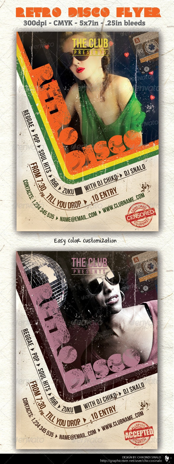 Retro Disco Flyer Template - Clubs & Parties Events