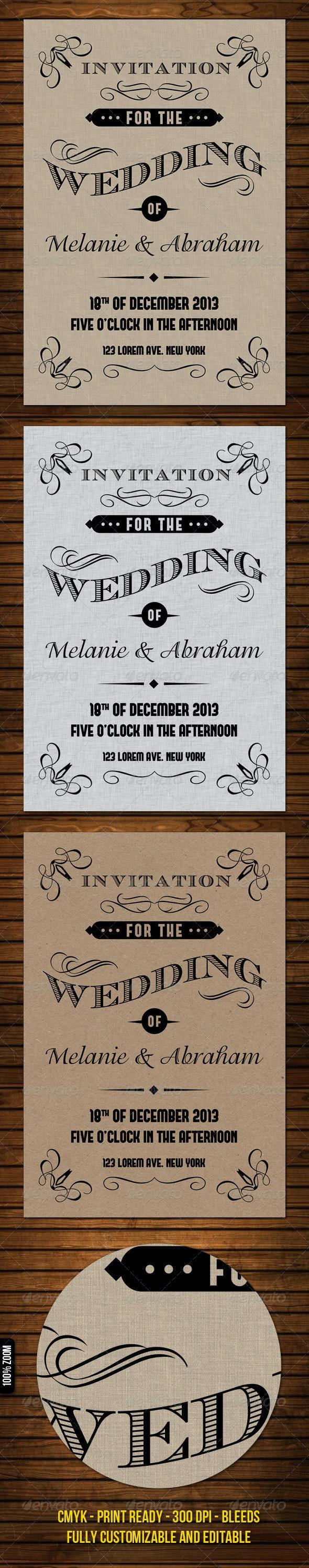 Old Vintage Wedding Invitation