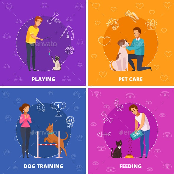 People with Pets 2x2 Cartoon Square Icons - Animals Characters