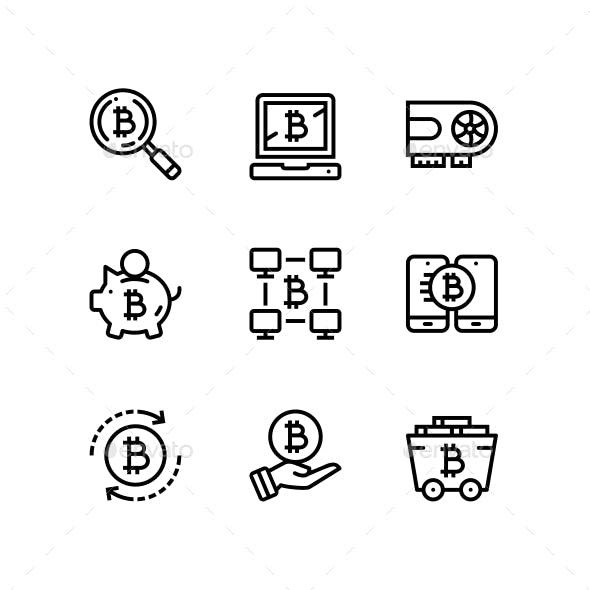 Cryptocurrency, Blockchain, Bitcoin Mining, Digital Money Icons for Web and Mobile Design Pack 2