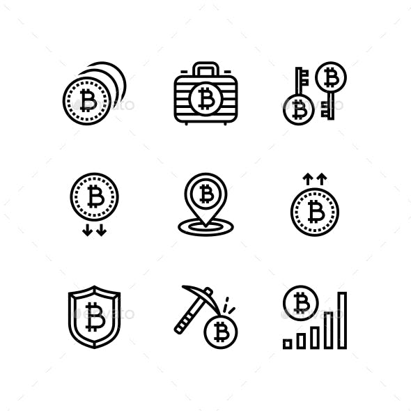 Cryptocurrency, Blockchain, Bitcoin Mining, Digital Money Icons for Web and Mobile Design Pack 3