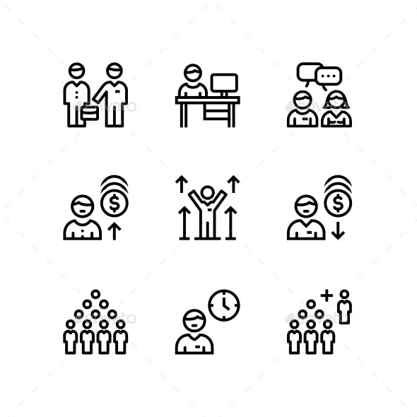 Business People, Meeting, Team Work Icons for Web and Mobile Design Pack 3