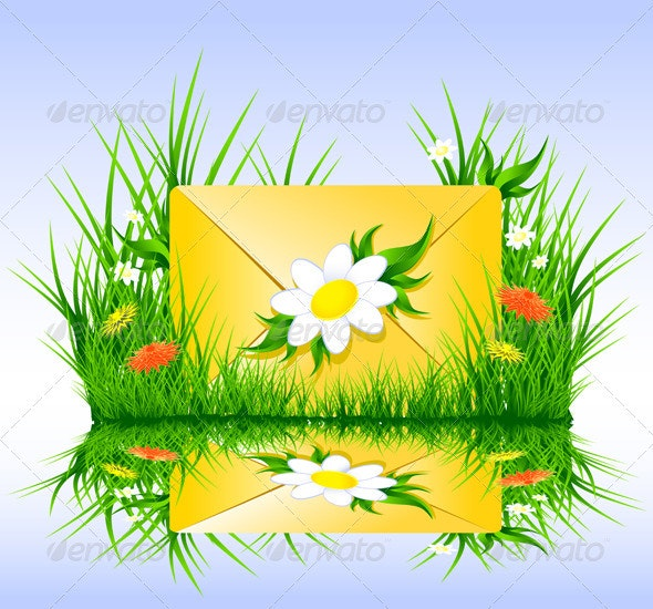 Letter or sms in grass spring summer style - Vectors
