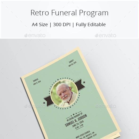 Retro Funeral Program Template