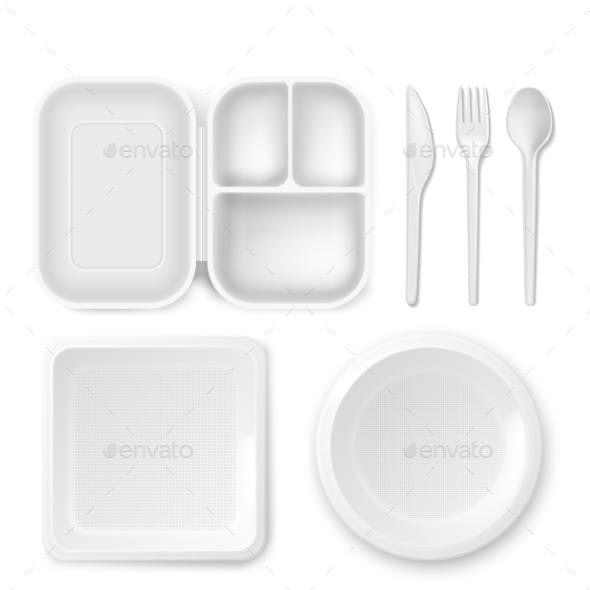 Disposable Plastic Dishware Vector Illustration