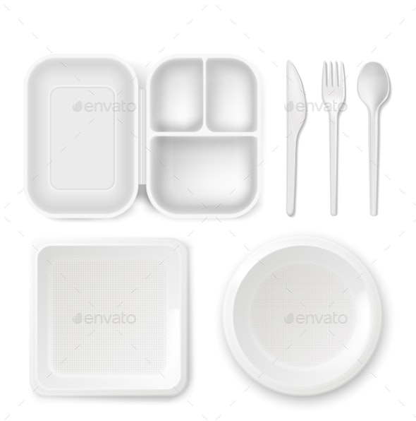 Disposable Plastic Dishware Vector Illustration - Man-made Objects Objects