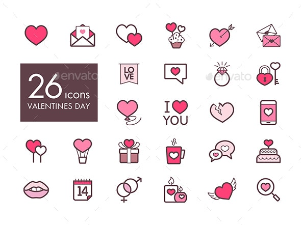 Valentine day and wedding set icons - Web Icons