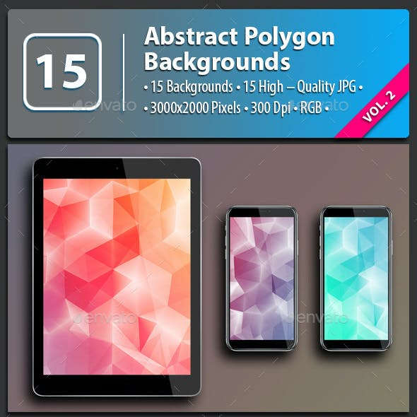 15 Abstract Polygon Backgrounds Vol.2