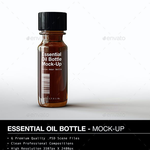 Amber Vial Bottle | Essential Oil Bottle Mock-Up