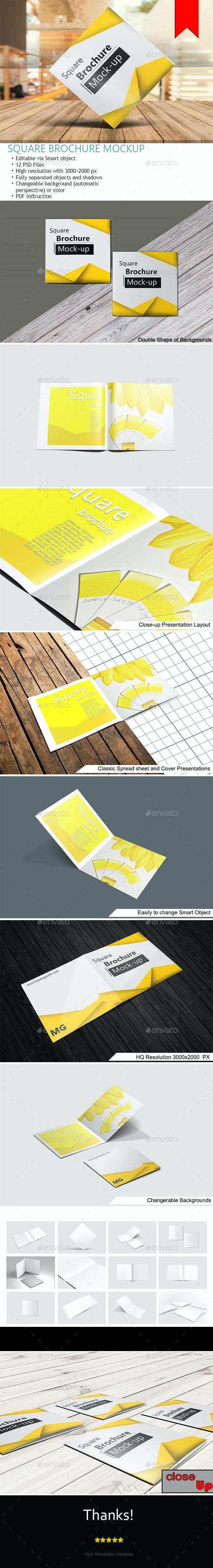 Square Bifold Brochure Mockups - Brochures Print