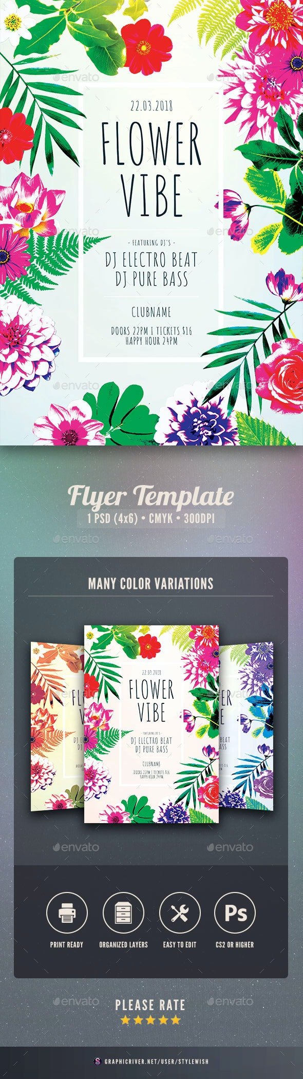 Flower Vibe Flyer - Clubs & Parties Events