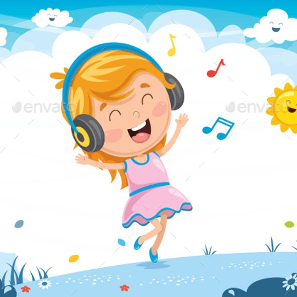 Vector Illustration Of Kid Listening Music
