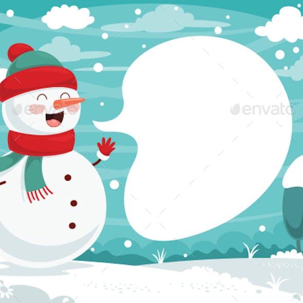Winter Snowman Background Design