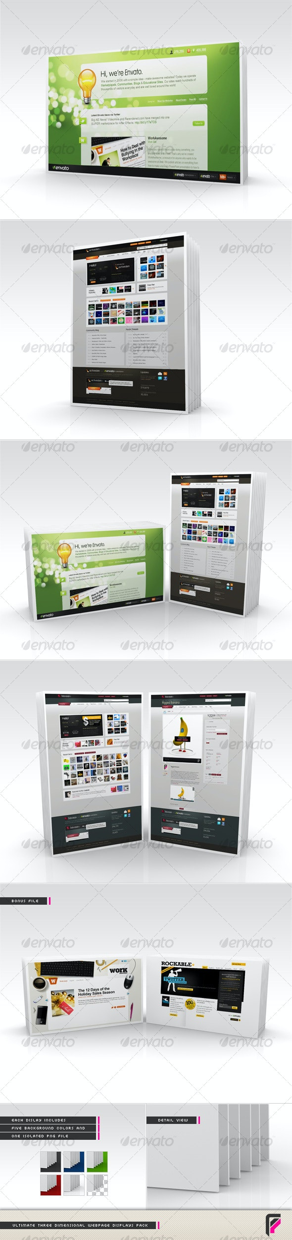Ultimate 3D Webpage Displays Pack - Web Elements