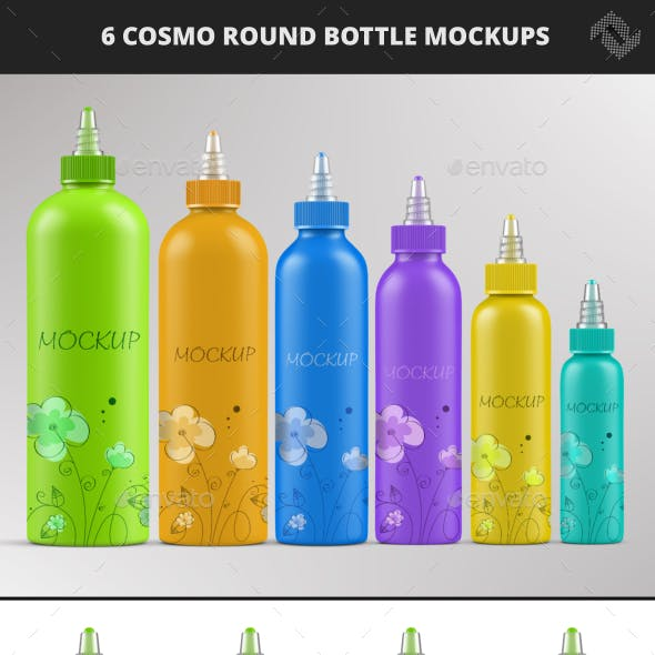 6 Cosmo Round Twist Top Cap Bottle Mockups