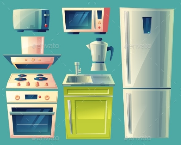 Vector Cartoon Modern Kitchen Interior Objects Set - Man-made Objects Objects