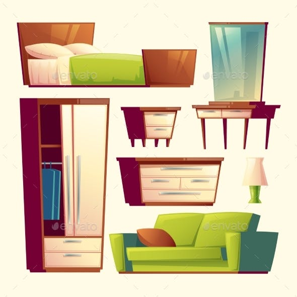 Vector Bedroom Living Room Interior Cartoon Object